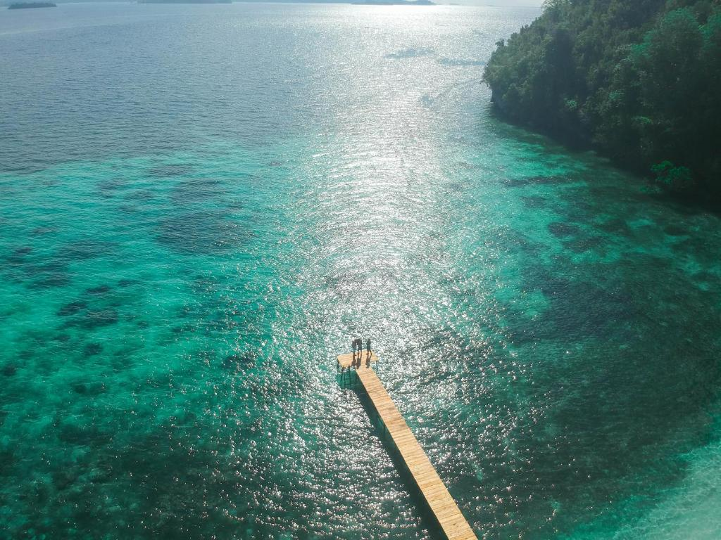 A bird's-eye view of Ale beach Togean Islands