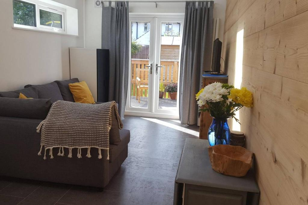 A seating area at Tiny House Cardiff