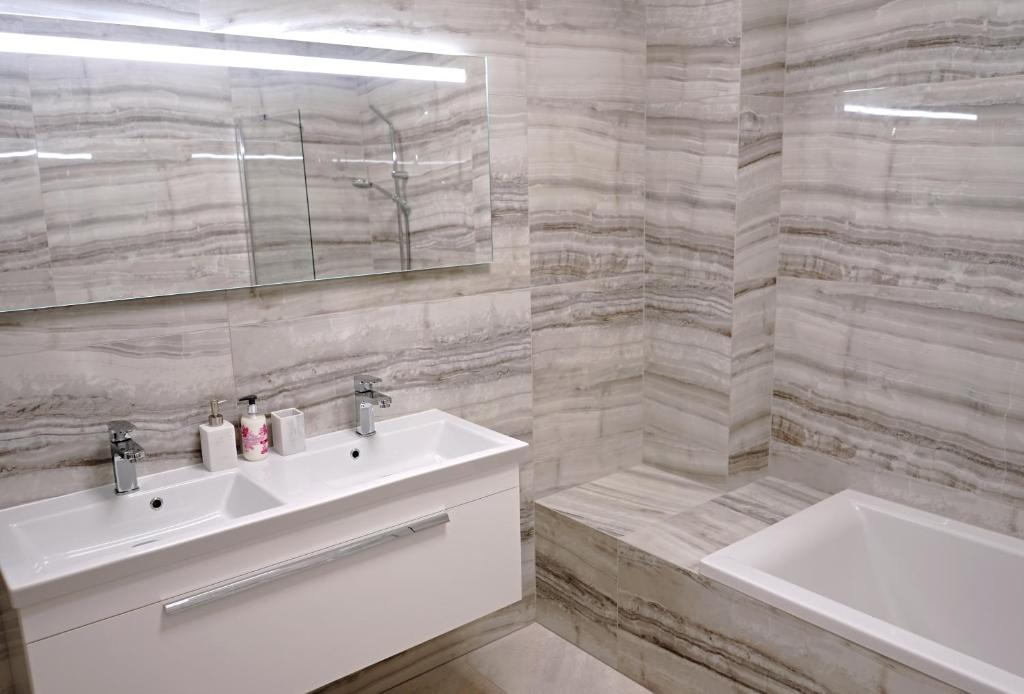 Koupelna v ubytování Apartmány Mia Valtice