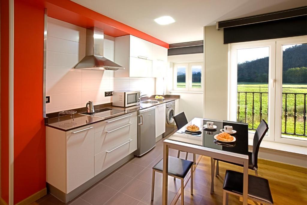 A kitchen or kitchenette at Apartamentos Spa Villa Pasiega