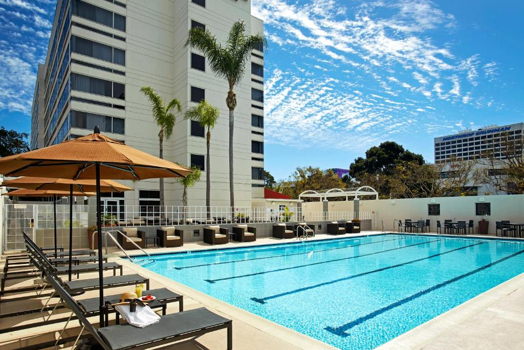 The swimming pool at or near DoubleTree by Hilton LAX - El Segundo