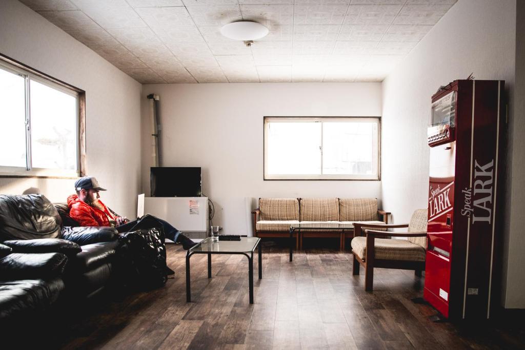 A seating area at Hakuba Cortina Backpackers