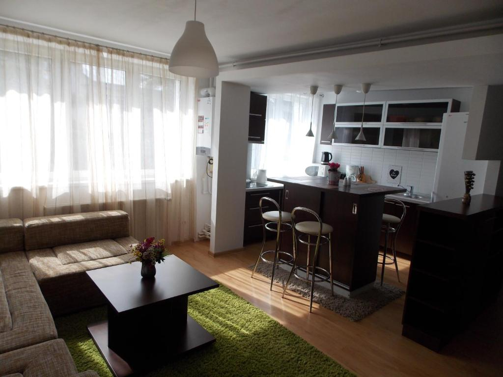A kitchen or kitchenette at Central Apartment Suceava