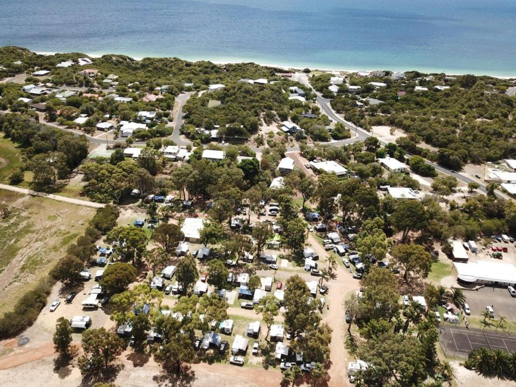 A bird's-eye view of Peppermint Grove Beach Holiday Park