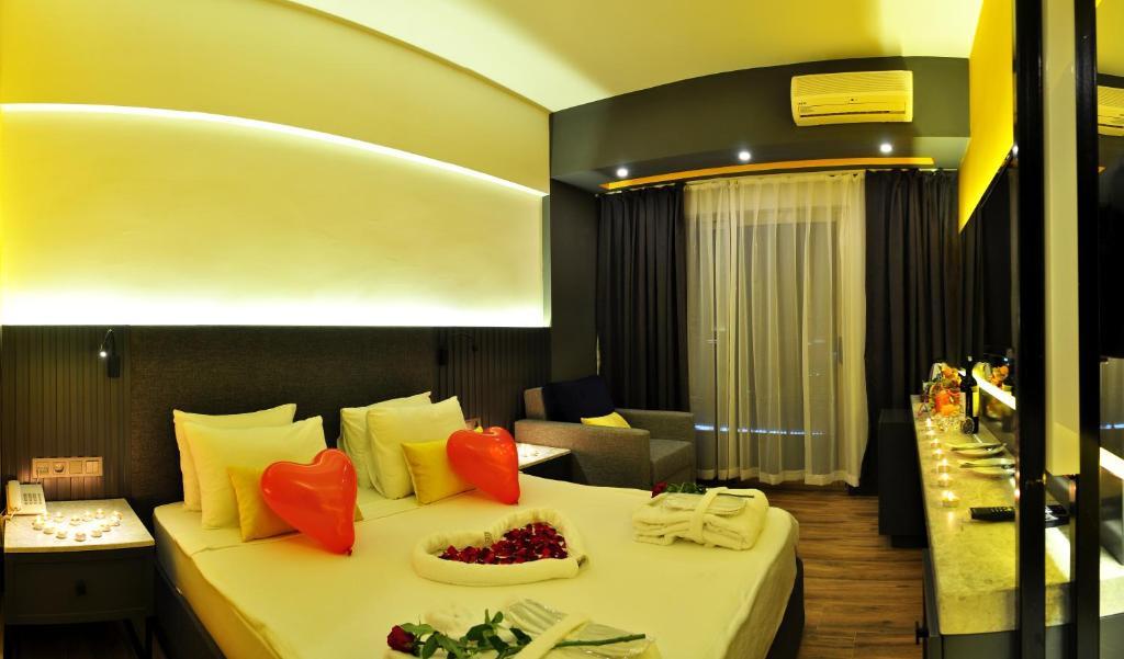 Кровать или кровати в номере Oba Star Hotel - Ultra All Inclusive