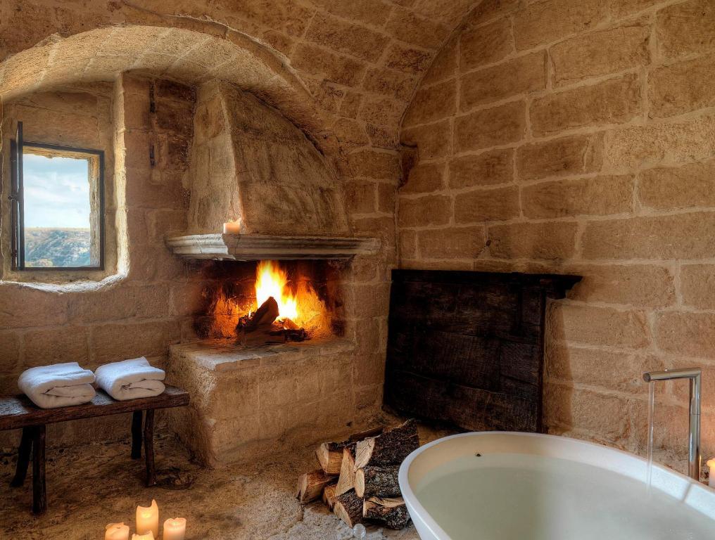 A bathroom at Sextantio Le Grotte Della Civita