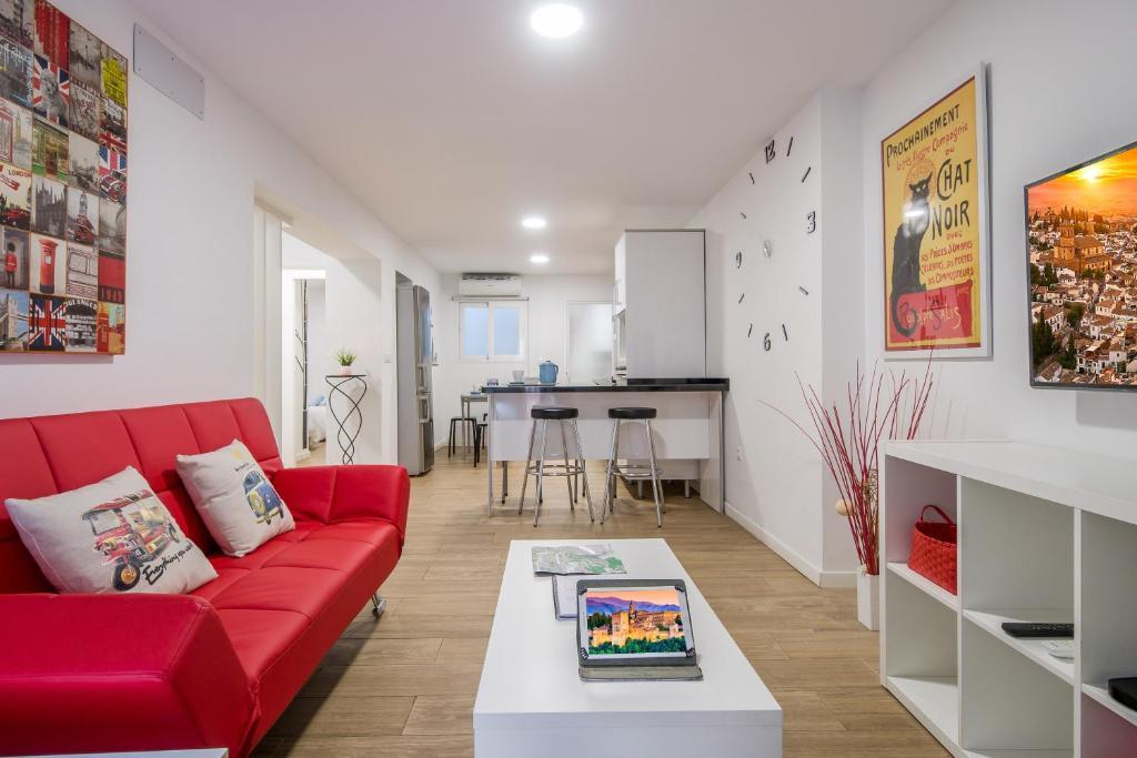 Een zitgedeelte bij Apartamento San Isidro
