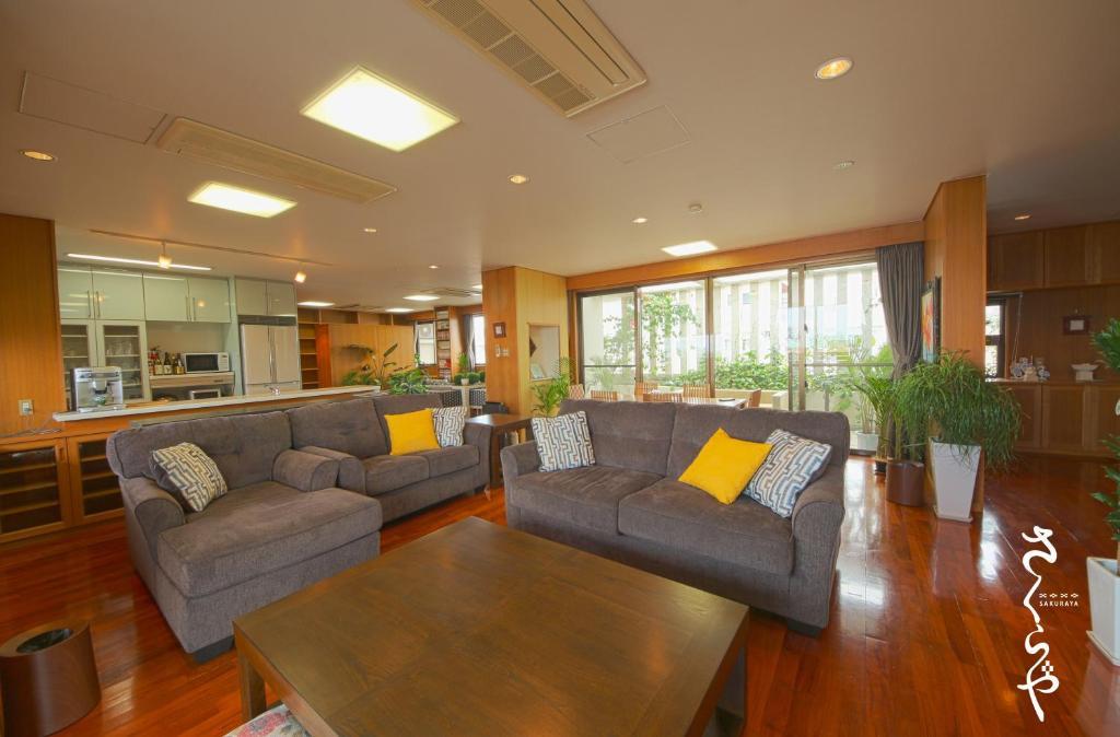 A seating area at Sakuraya