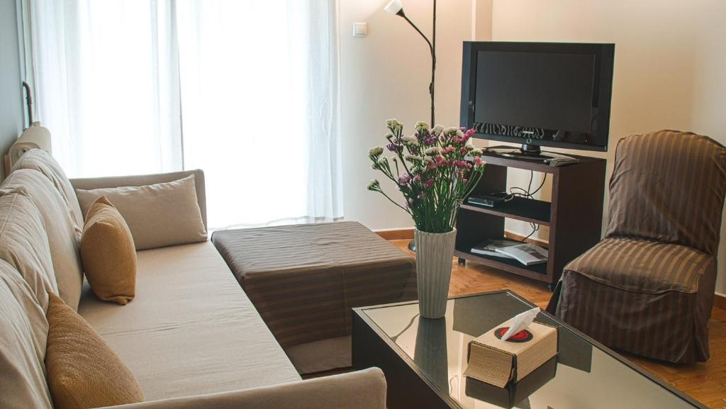 A television and/or entertainment centre at Athenian apartment in Kolonaki