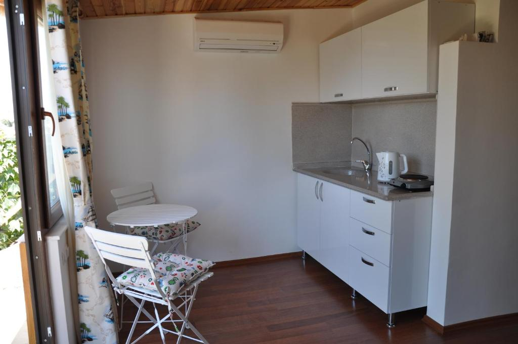 Кухня или мини-кухня в Sibel Pension