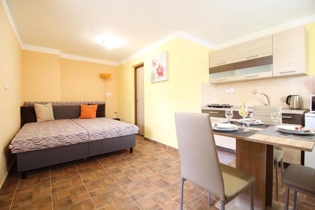 Kuchyň nebo kuchyňský kout v ubytování Apartmány včelka