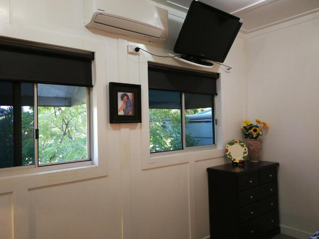 A television and/or entertainment center at Unit 3