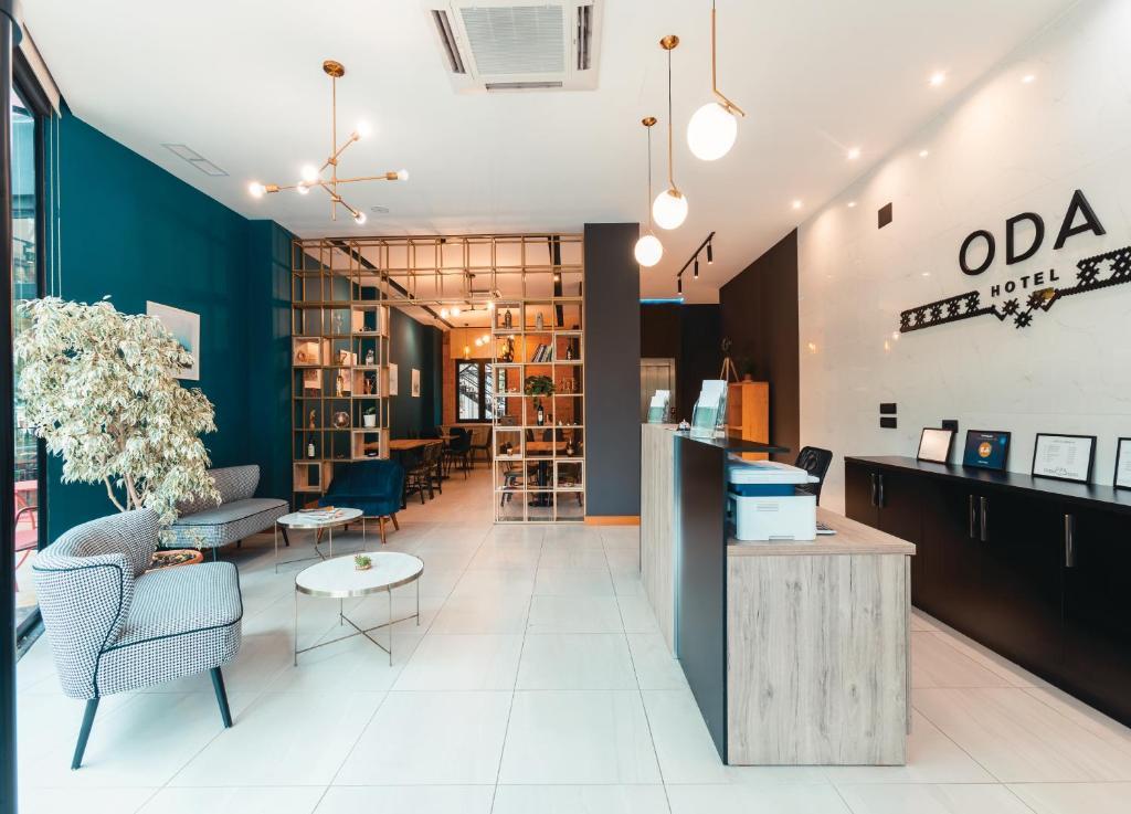 The lobby or reception area at Oda Hotel Tirana