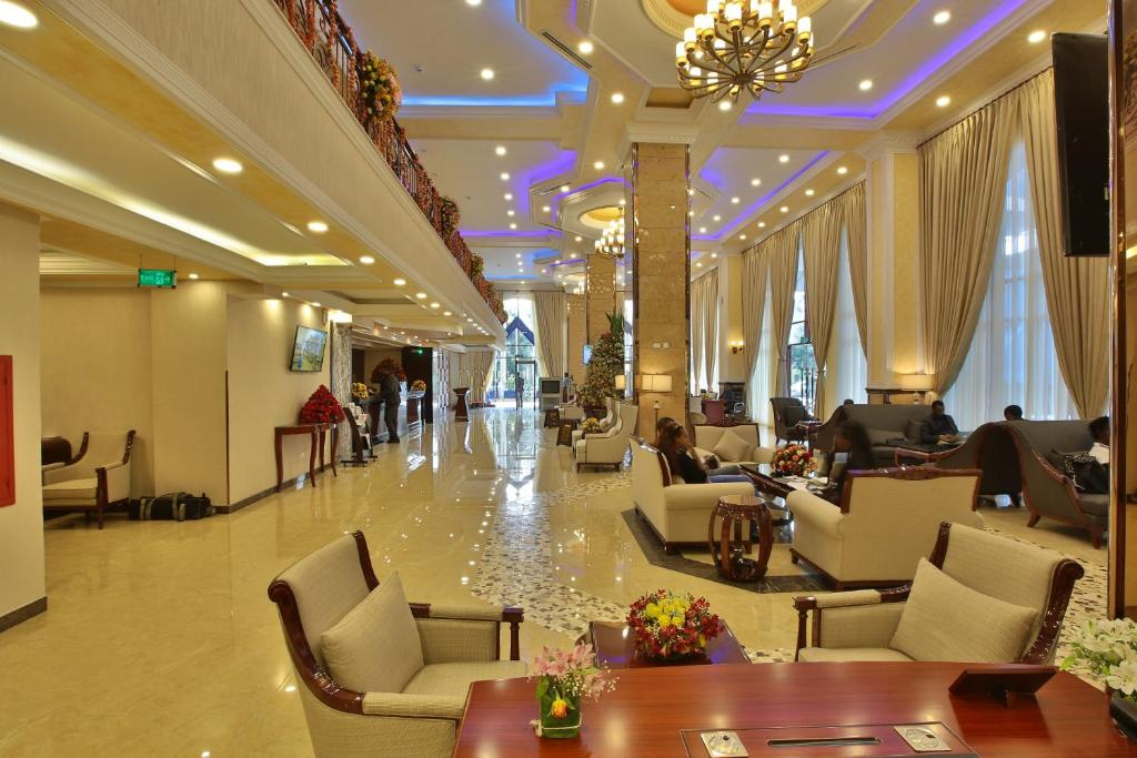 The lobby or reception area at Sapphire Addis