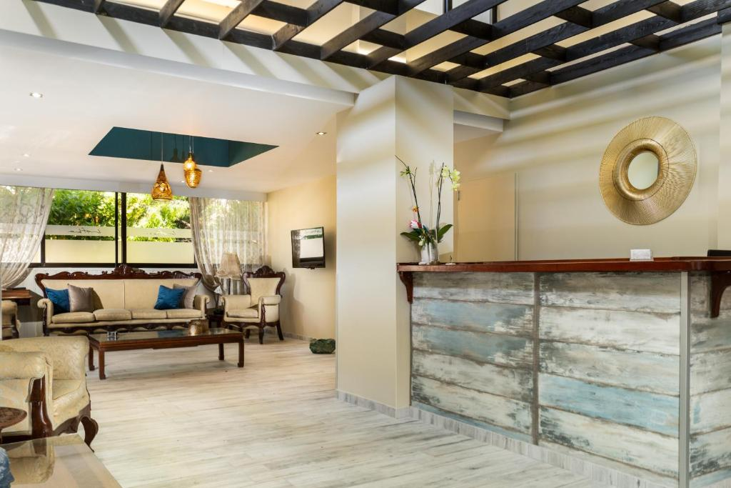 The lobby or reception area at Lefka Hotel & Apartments