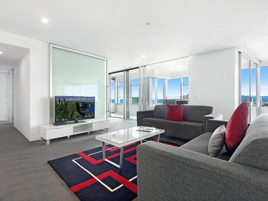 A seating area at Private 2 Bed Ocean View in Q Surfers Paradise