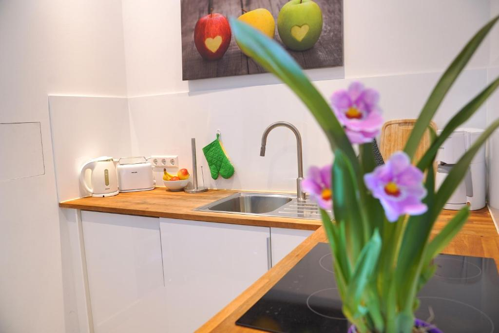 A kitchen or kitchenette at small luxus apartment