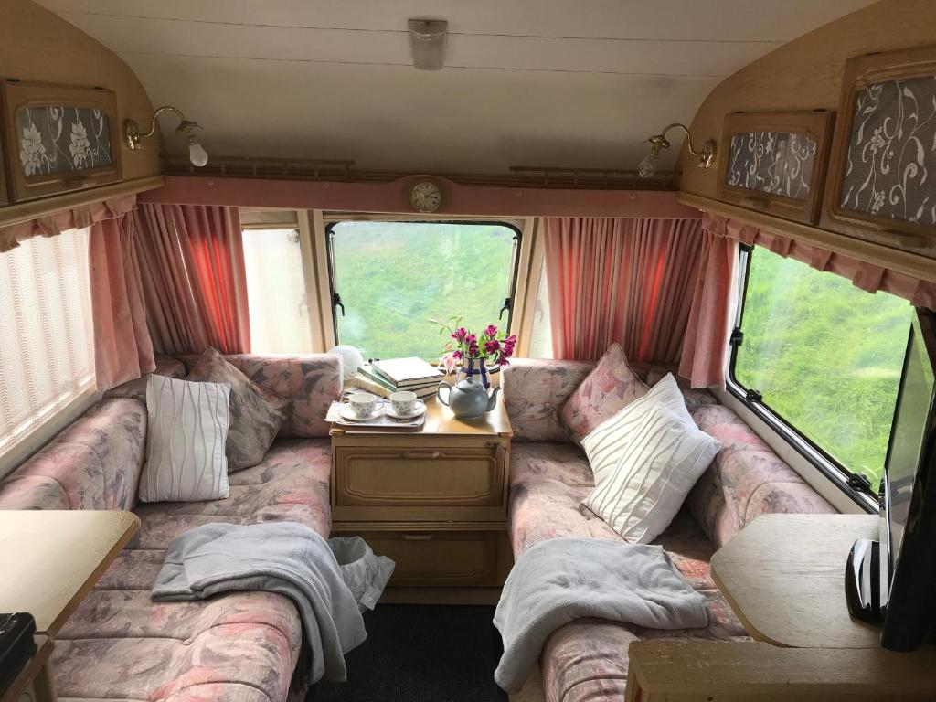 A seating area at caravan on private Croft