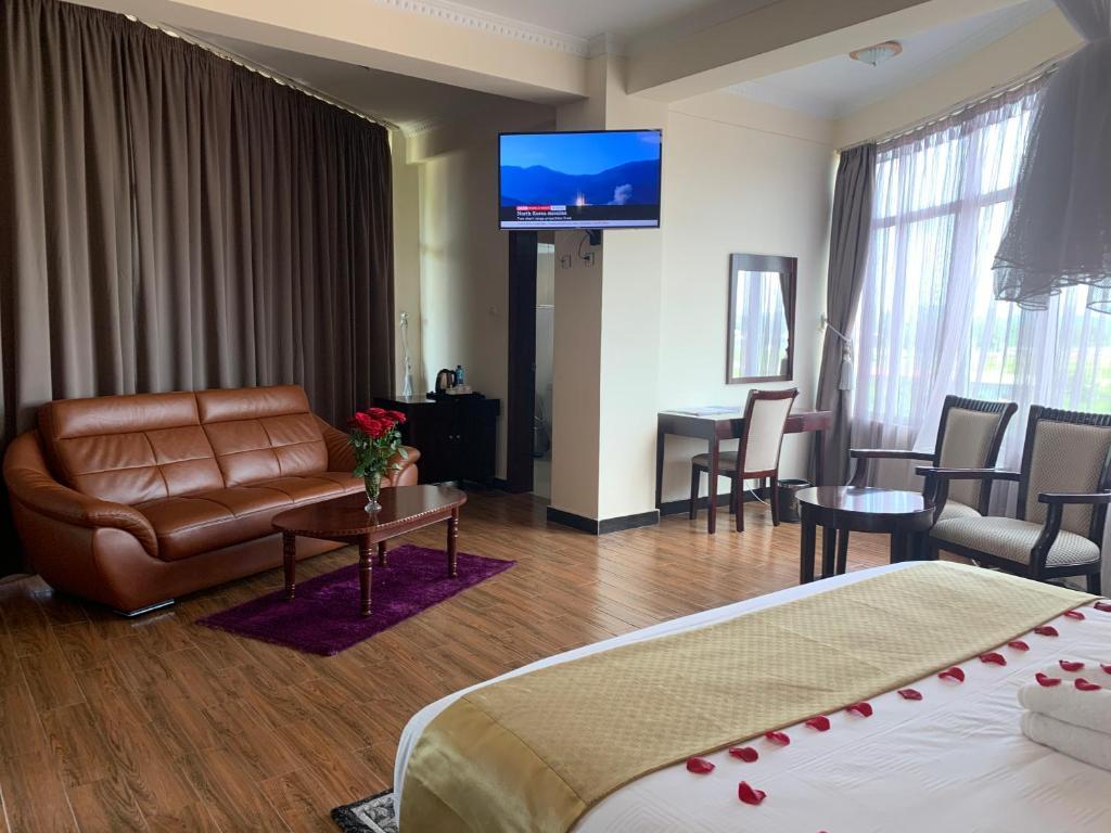 A seating area at Delano Hotel, Bahir Dar