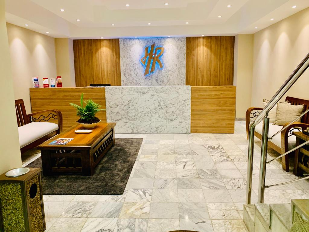 The lobby or reception area at Hotel Riazor