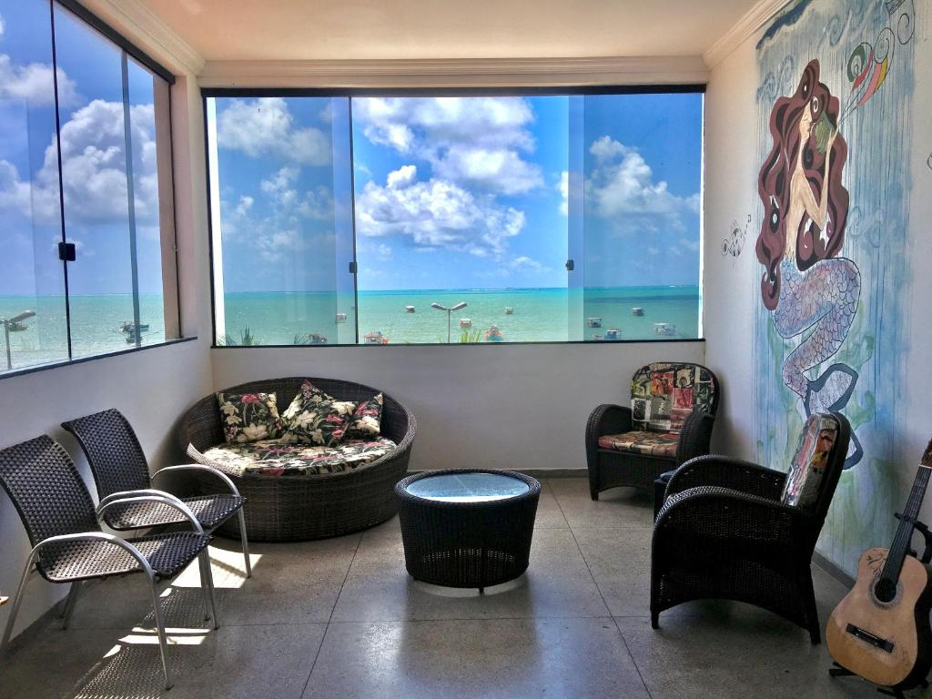 A seating area at Maraga Beach Hostel