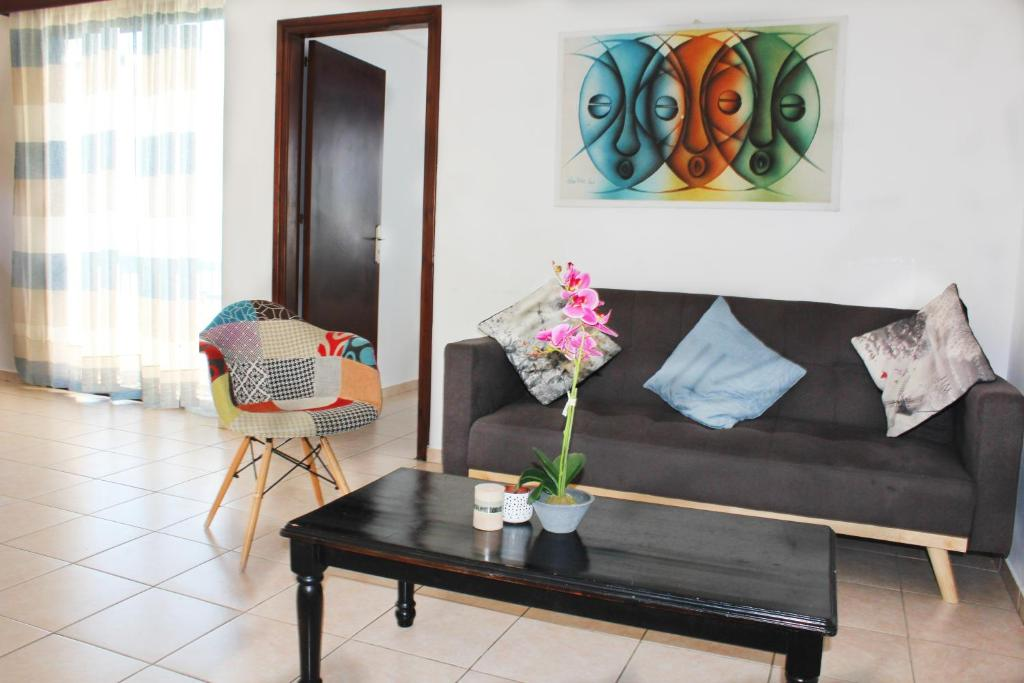 A seating area at Athanasia Apartments