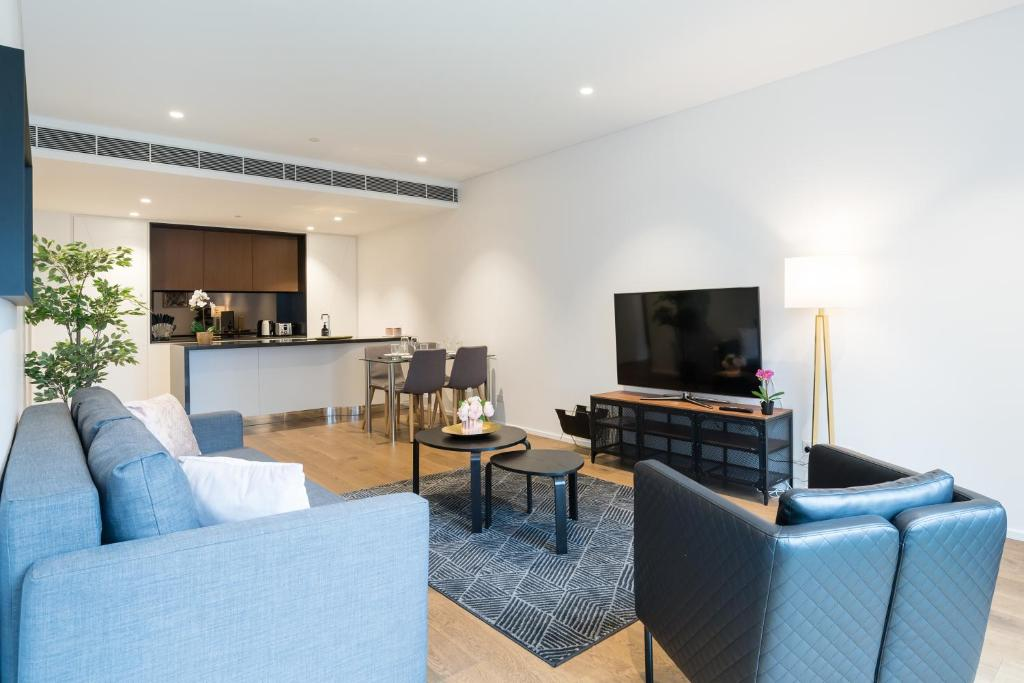 Ein Sitzbereich in der Unterkunft Apartment CBD - O'Connor