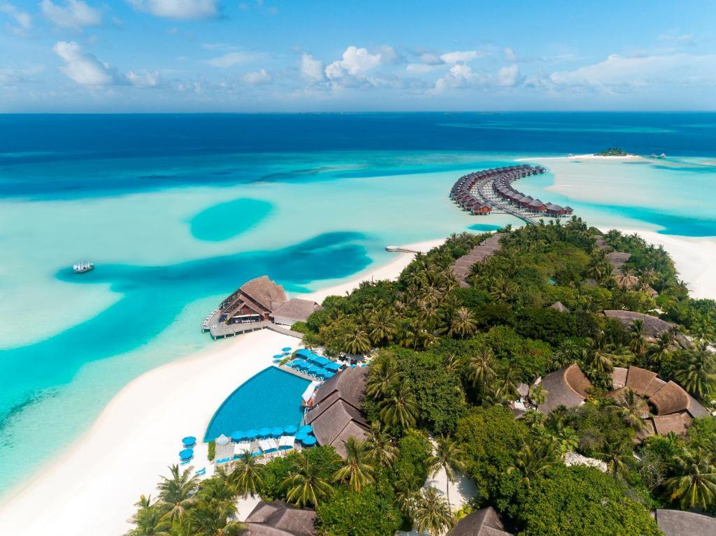 A bird's-eye view of Anantara Dhigu Maldives Resort