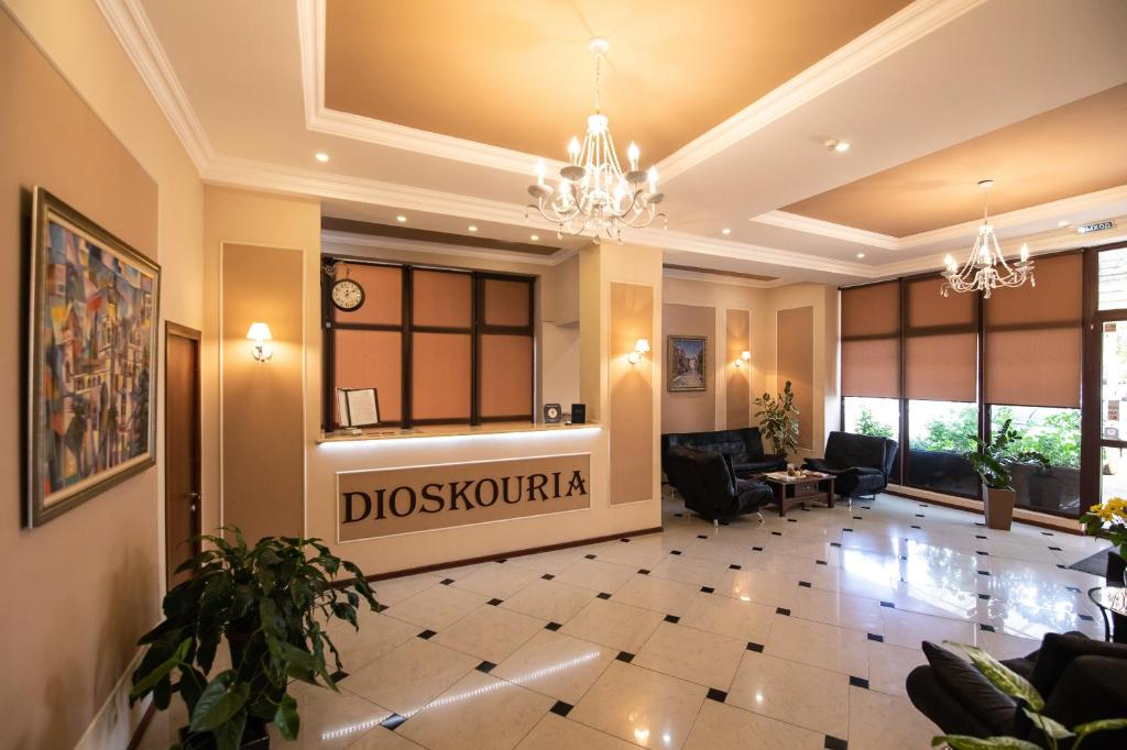 The lobby or reception area at Dioskuria Hotel