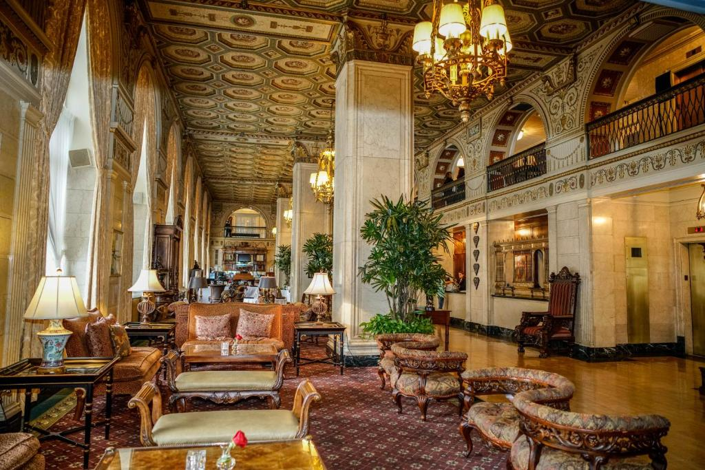 The lobby or reception area at The Brown Hotel