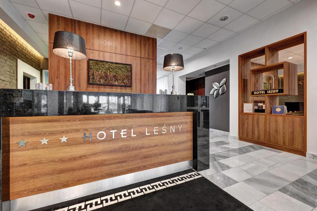The lobby or reception area at Hotel Leśny