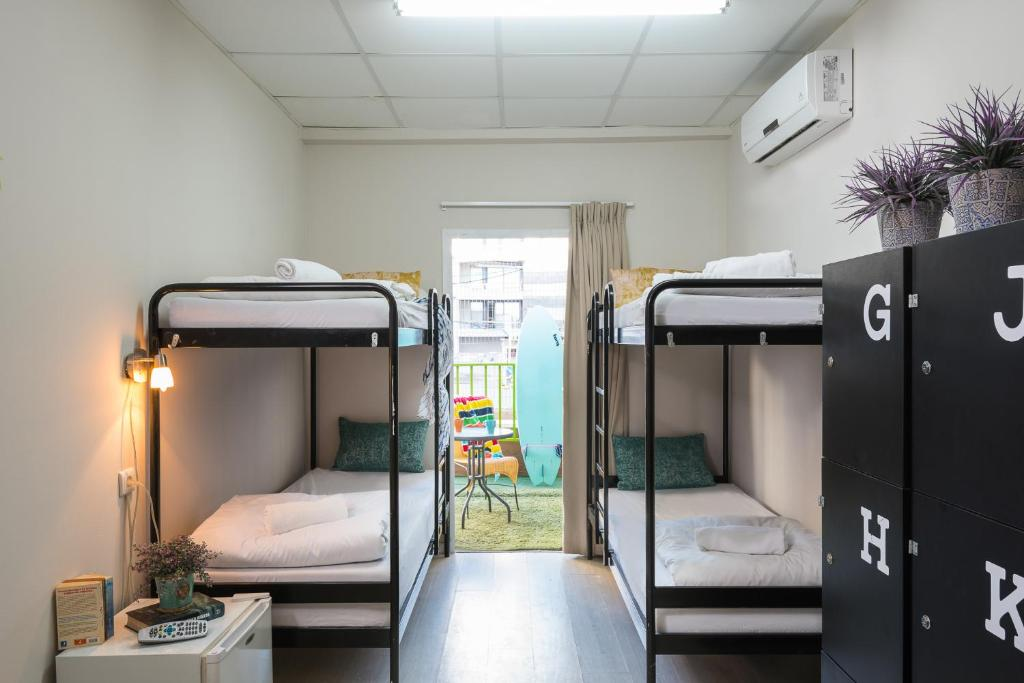 A bunk bed or bunk beds in a room at Beachfront Hostel