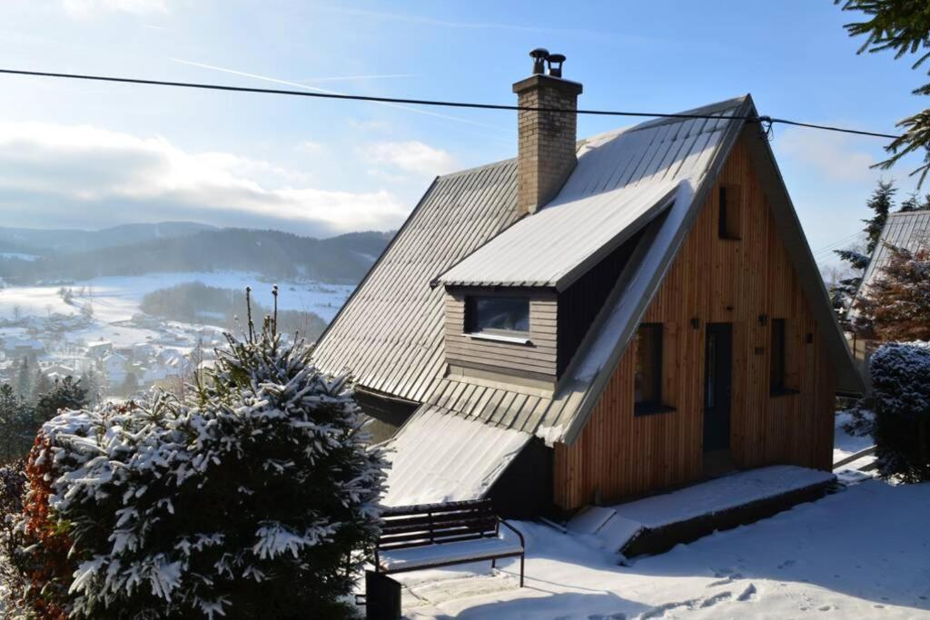 Chata s wellness v zimě