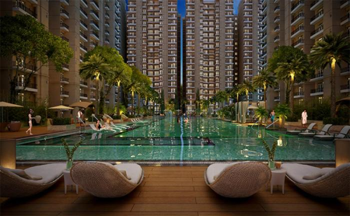The swimming pool at or close to Lucknow Condominium