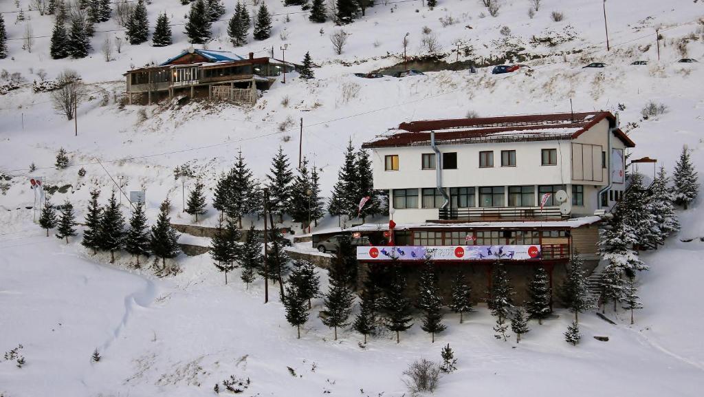 L'établissement Snow Patrol Lodge en hiver