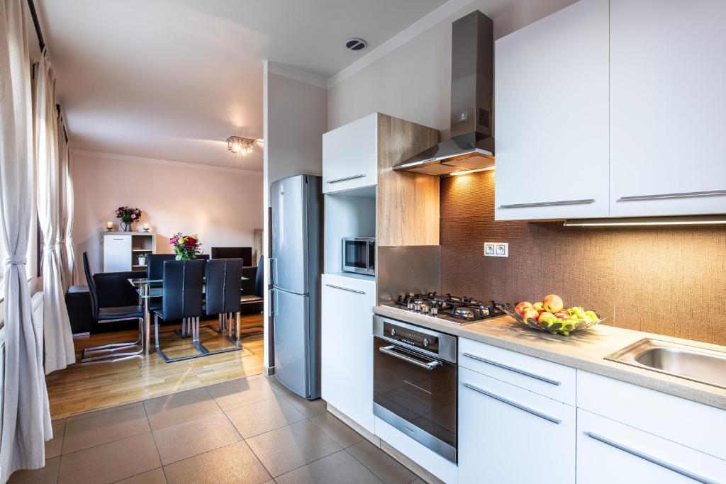 Kuchyň nebo kuchyňský kout v ubytování Rezidence Čertovka