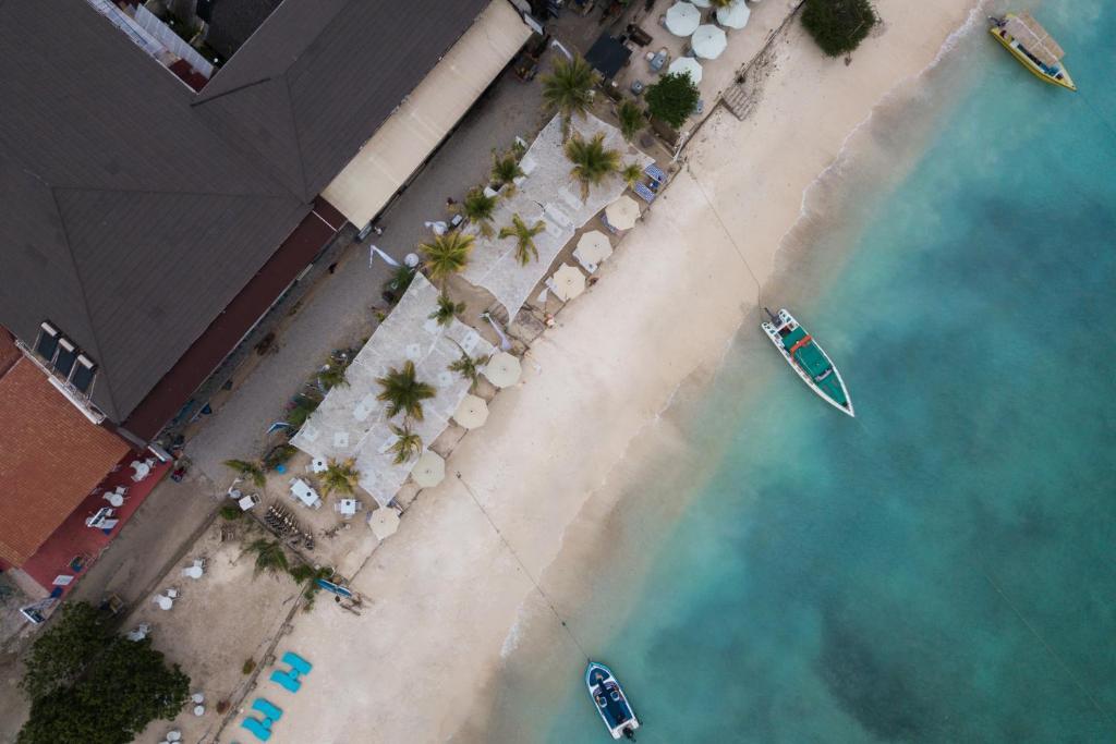 A bird's-eye view of Scallywags Resort
