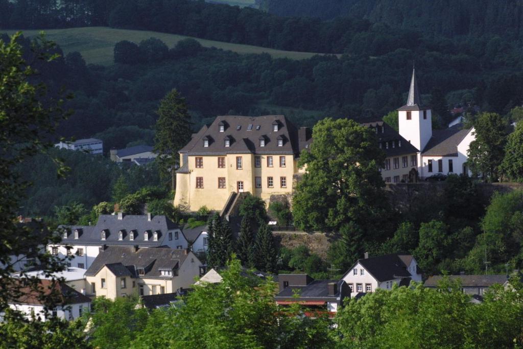 Blick auf Romantik Schloßhotel Kurfürstliches Amtshaus Dauner Burg aus der Vogelperspektive