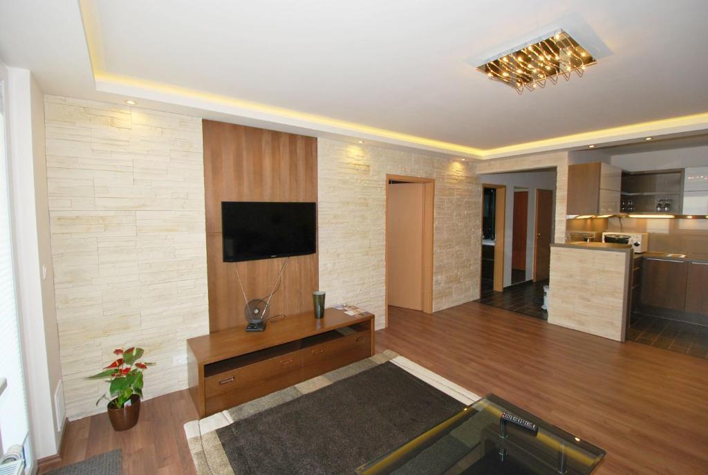 Televízia a/alebo spoločenská miestnosť v ubytovaní Arpad Bridge Apartments