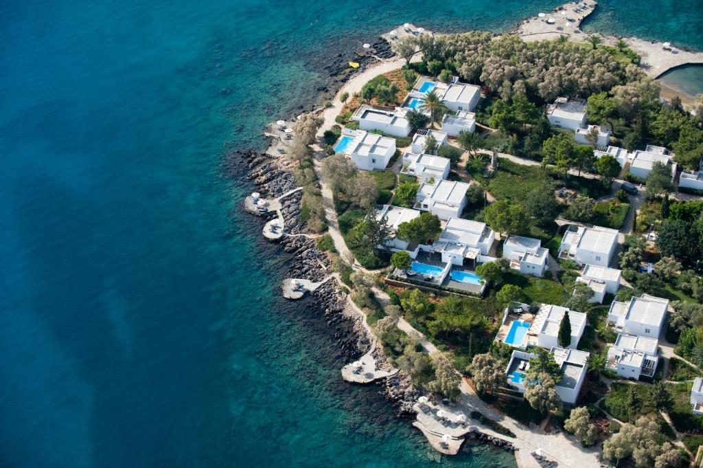 A bird's-eye view of Minos Beach Art Hotel