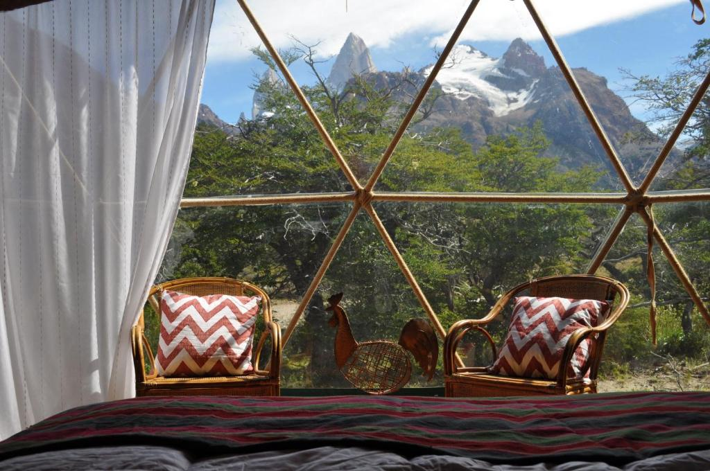 A seating area at Patagonia Eco Domes