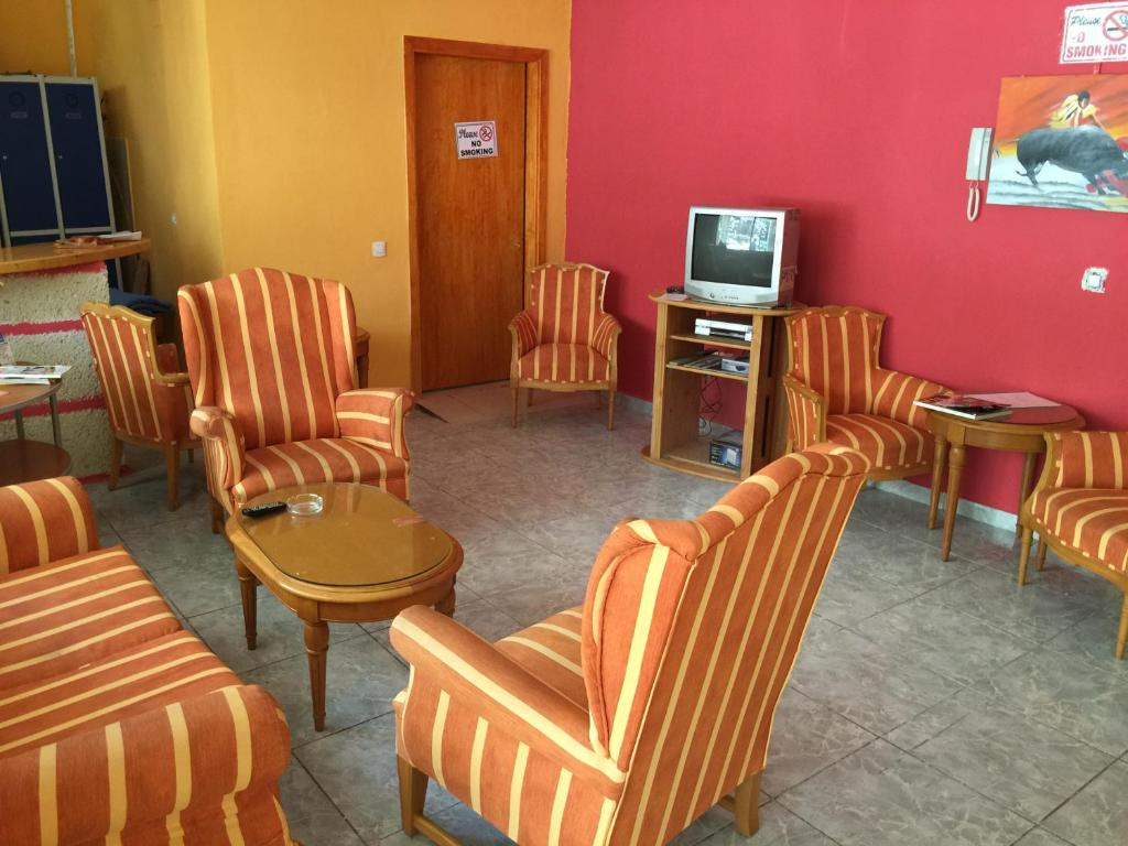 A seating area at Tenerife Hostel