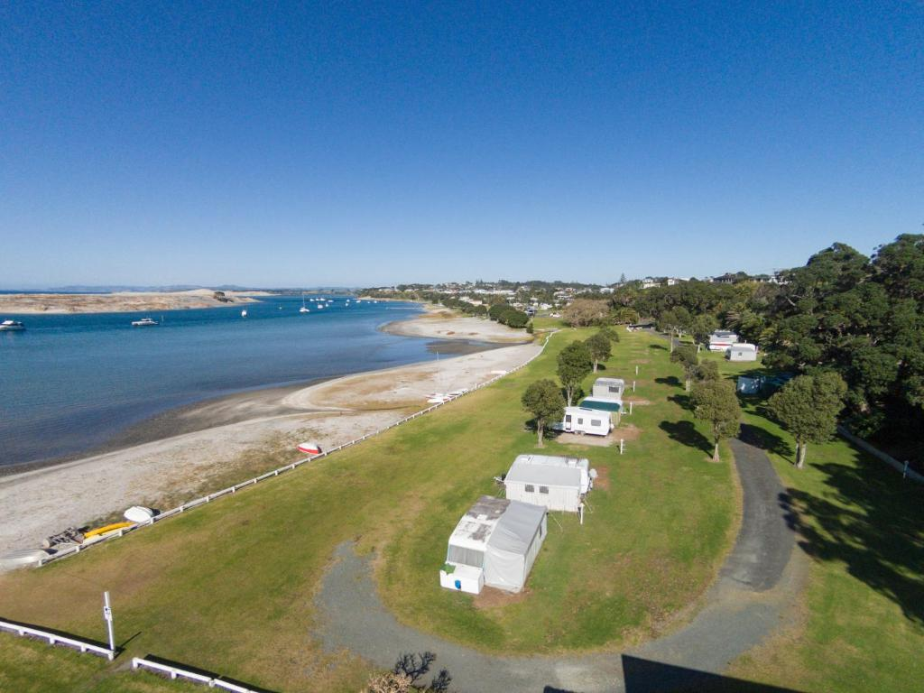 A bird's-eye view of Mangawhai Heads Holiday Park