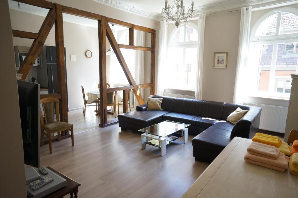 Ein Sitzbereich in der Unterkunft 3 wunderschöne Ferienwohnungen Kornhoff