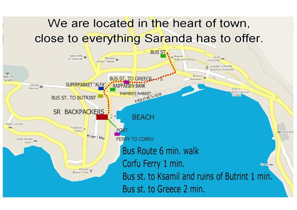 A bird's-eye view of Saranda Backpackers