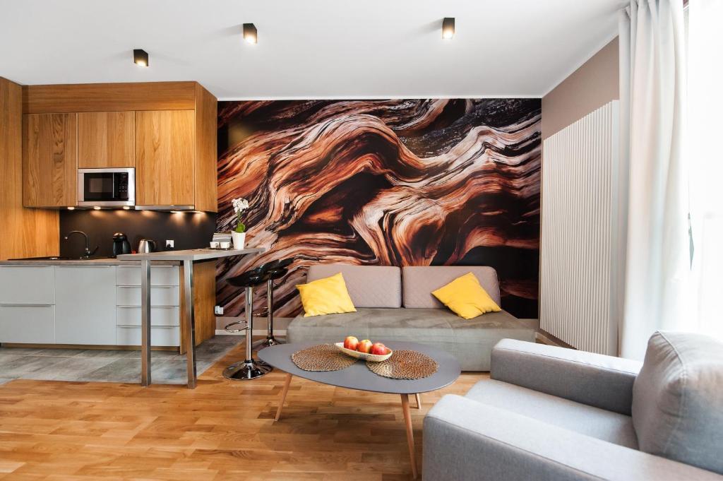 A seating area at Prestige Apartments Wola Kolejowa