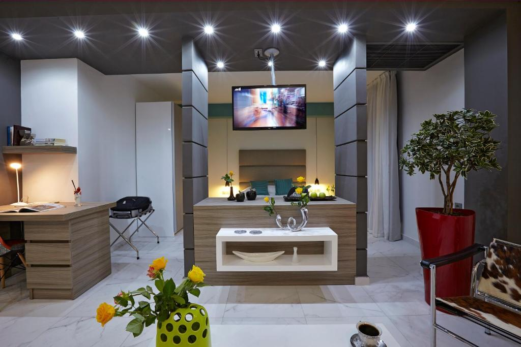A television and/or entertainment center at Sokratis Hotel