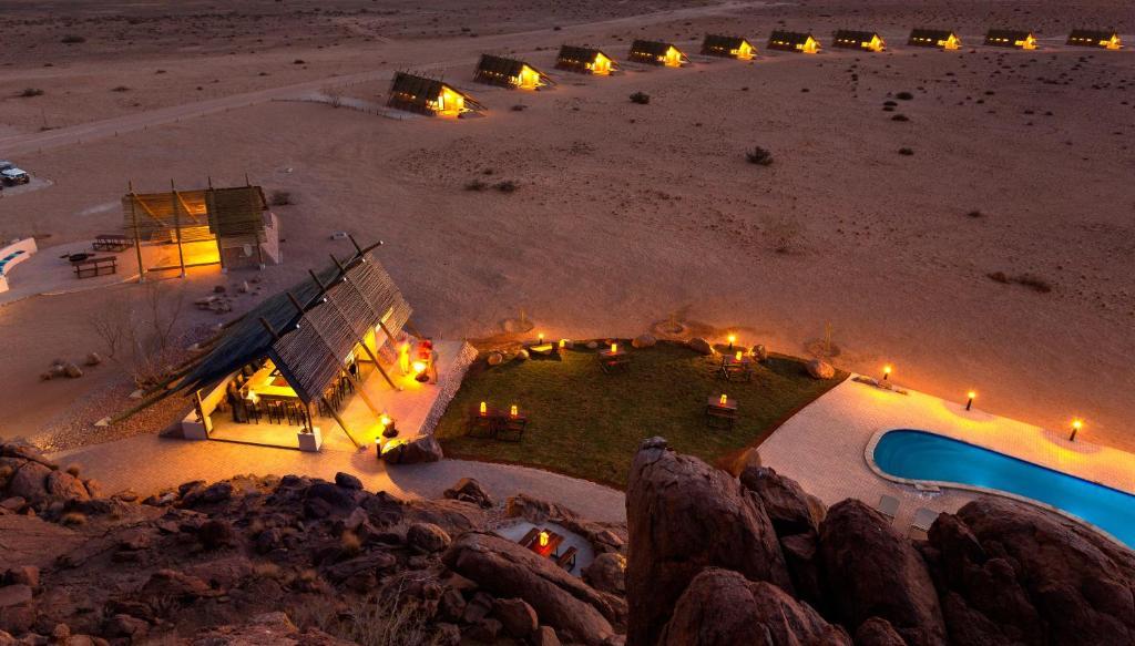 A bird's-eye view of Desert Quiver Camp