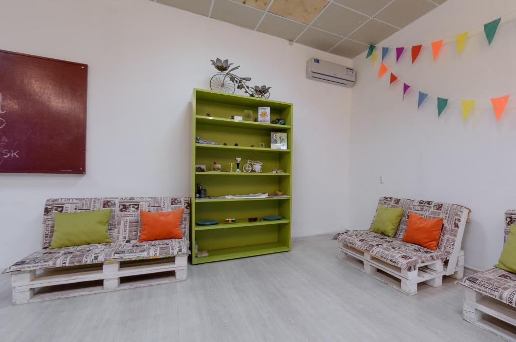 A seating area at Hostel Tsentral