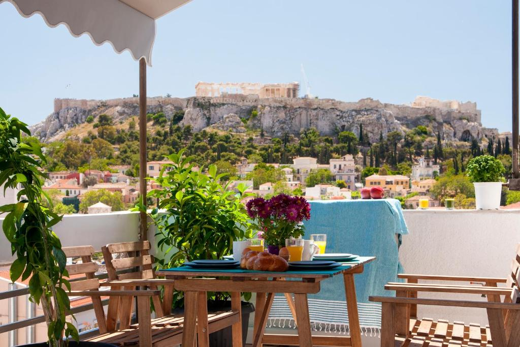 A porch or other outdoor area at Amazing Penthouses with Acropolis View